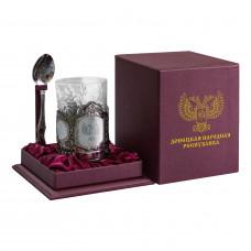 Подарочный набор - подстаканник со стаканом и ложкой